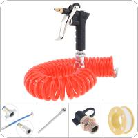 High Pressure Lengthen Pneumatic Cleaning Dust Gun Set with 6M Flexible Telescopic Hose and Hand Air Valve for Machinery / Factory Facilities / Car Cleaning