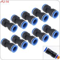 10PCS 14MM PU-14 Plastic Straight Through Quick Connector Pneumatic Insertion Air Tube