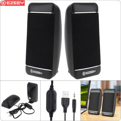 EZEEY S4 Mini USB 5V Subwoofer Speaker with 3.5MM Audio Socket and Volume Control for Laptop / Phone