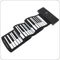 61 Keys USB MIDI Output Roll Up Piano Rechargeable Electronic Portable Silicone Flexible Keyboard Organ Built-in Speaker