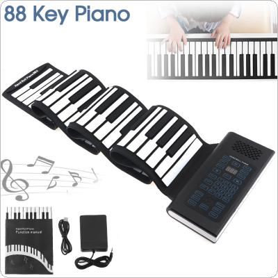 88 Keys USB MIDI Output Roll Up Piano Rechargeable Electronic Portable Silicone Flexible Keyboard Organ Built-in Speaker with Sustain Pedal