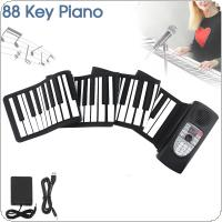 88 Keys MIDI Roll Up Piano Rechargeable Electronic Portable Silicone Flexible Keyboard Organ Built-in Speaker Support Bluetooth Connection
