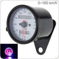 Motorcycle Speedometer 12V Metal Case Odometer Speedometer with Night Light Guide for Motorcycle Universal