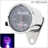 Motorcycle Speedometer 12V Metal Case Vintage Double Mileage Odometer Speedometer for  Motorcycle Universal