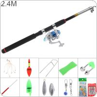 2.4m Fishing Rod Reel Line Combo Full Kits 3000 Series Spinning Reel Pole Set with Carp Fishing Lures Fishing Float Hooks Beads Bell Lead Weight Etc