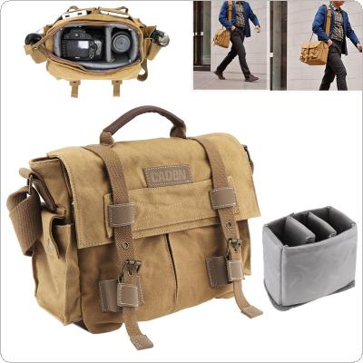Vintage SLR Photo Camera Single Shoulder Bag Photo Video Soft Canvas Pack Bag Travel Camera Protective Case Fit for Canon / Nikon / Sony / Pentax