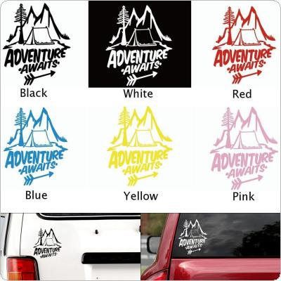 20 x 18CM PET 5 Colors Pine Tree Hill Pattern Adventure  Awaits  Outdoor Reflective Car Body / Bumper / Hood / Scratch Sticker