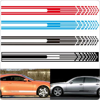 2pcs/pair  215 x 9CM PVC 3 Colors Universal Stripe Grid Pattern Creative Refit Car Racing Side Body Sticker