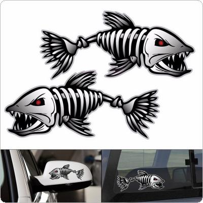 18 x 9CM PET Skeleton Fish Shark Bones Pattern Outdoor Car Body / Bumper / Hood / Scratch Sticker