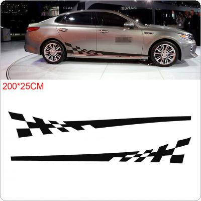 2pcs/pair 200 x 25CM PVC 4 Colors Striped Grid Pattern Creative Refit Car Racing Side Body Sticker