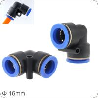 2pcs 16mm L Shaped Elbow Plastic Two-way Pneumatic Quick Connector Pneumatic Insertion Air Tube for Air Tool Quick Fitting