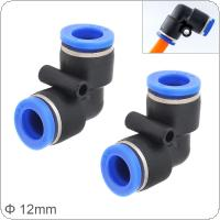 2pcs 12mm L Shaped Elbow Plastic Two-way Pneumatic Quick Connector Pneumatic Insertion Air Tube for Air Tool Quick Fitting