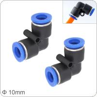 2pcs 10mm L Shaped Elbow Plastic Two-way Pneumatic Quick Connector Pneumatic Insertion Air Tube for Air Tool Quick Fitting