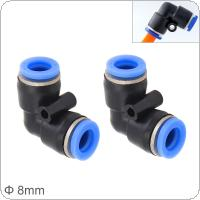 2pcs 8mm L Shaped Elbow Plastic Two-way Pneumatic Quick Connector Pneumatic Insertion Air Tube for Air Tool Quick Fitting