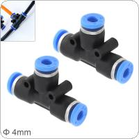 2pcs 4mm T Shaped APE Plastic Three-way Pneumatic Quick Connector Pneumatic Insertion Air Tube for Air Tool Quick Fitting
