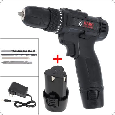 AC 100 - 240V Cordless 12V Black Electric Drill / Screwdriver with 2 Li-ion Batteries and Two-speed Adjustment Button for Handling Screws / Punching