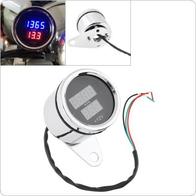 Motorcycle Tachometer 12V Metal Case with High Light Transmission Inductance LED Digital Display Speed LCD Voltmeter for Motorcycle Universal