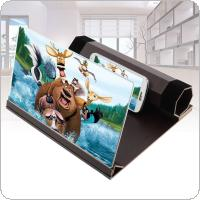 4X 12 Inch Portable Red Wood Grain PMMA + Fiber Board 3D Video Mobile Phone Screen  Magnifier  with Mobile Phone Bracket