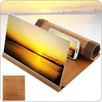 4X 12 Inch Portable Yellow Wood Grain PMMA + Fiber Board 3D Video Mobile Phone Screen Magnifier with Mobile Phone Bracket