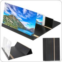 4 X 12 Inch Portable Black Wood Grain PMMA + Fiber Board 3D Video Mobile Phone Screen Magnifier with Mobile Phone Bracket