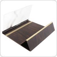 4 X 12 Inch Portable Brown Wood Grain PMMA + Fiber Board 3D Video Mobile Phone Screen Magnifier with Mobile Phone Bracket