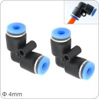 2pcs 4mm L Shaped Elbow Plastic Two-way Pneumatic Quick Connector Pneumatic Insertion Air Tube for Air Tool Quick Fitting