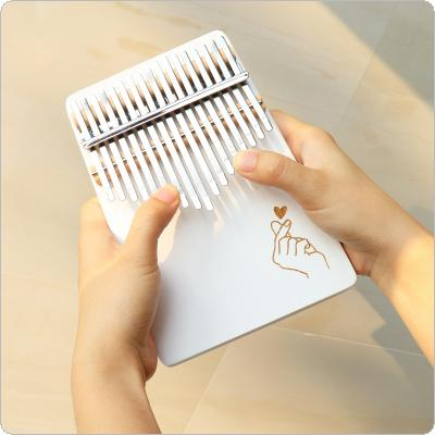 17 Keys Thumb Piano Kalimba White Finger Heart Pattern Solid Single Board Pine Mbira Mini Keyboard Instrument