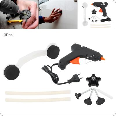 9pcs 220V Universal Plastic + Aluminum Alloy Bridge-type Car Door Body Pulling Paintless Reparation Device Removal Tool Kit with Glue Gun and Rubber Strip
