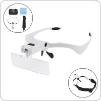 3.5X Portable 5 Amplification Ratio Adjustable Interchangeable Lens Headband Eyeglass Magnifier with LED Lights and 5 Lens for Reading Books