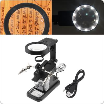 25X Desk-top Multifunctional Adjustable Rotatable Welding Magnifier with 10 LED Lights and Electric Soldering Iron Bracket for Inspection and Repair