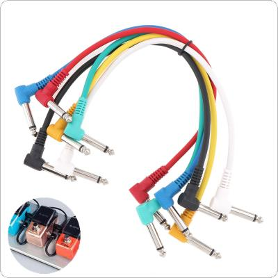 6pcs/lot 30cm Colorful Audio Cable Angled Plug 6.35mm Leads Patch Lines for Guitar Pedal Effect