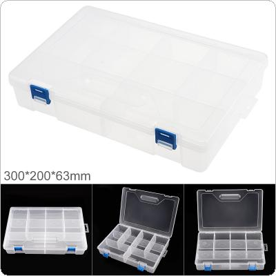 12 Inch 10 Grid Transparent White PP Plastic Portable Multifunctional Parts Storage Tool Box with 300mm Length and 200mm Width for Hardware Accessories