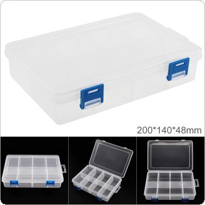 8 Inch 8 Grid Transparent White PP Plastic Portable Multifunctional Parts Storage Tool Box with 200mm Length and 140mm Width for Hardware Accessories