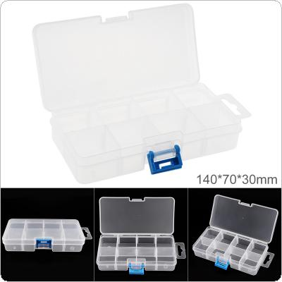 5.5 Inch 8 Grid Transparent White PP Plastic Portable Multifunctional Parts Storage Tool Box with 140mm Length and 70mm Width for Hardware Accessories