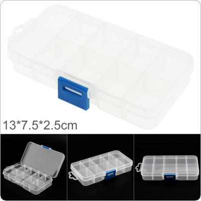 5 Inch 10 Grid Transparent White PP Plastic Portable Multifunctional Parts Storage Tool Box with 130mm Length and 75mm Width for Hardware Accessories