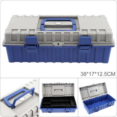 15 Inch ABS Portable Multifunctional Thickened Double Layer Tool Storage Box with 380mm Length and 170mm Width for Vehicle Hardware Tools