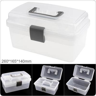 10 Inch Transparent White PP Plastic Multifunctional Double Layer Storage Tool Box with 260mm Length and 165mm Width for Hardware Accessories