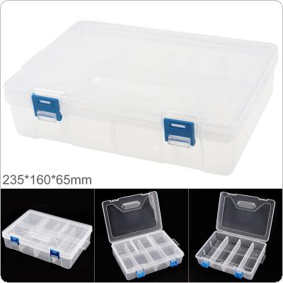 9 Inch Transparent White PP Plastic Portable Multifunctional Double Layer Storage Tool Box with 235mm Length and 160mm Width for Hardware Accessories