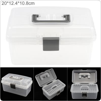 8 Inch Transparent White PP Plastic Portable Multifunctional Double Layer Storage Tool Box with 200mm Length and 124mm Width for Hardware Accessories