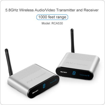 5.8GHZ Wireless  Aluminum Alloy AV VCD Audio Video Transmitter and Receiver with IR Remote Control 300 Metres RCA530 for STB / Monitor / Transmission
