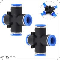 2pcs 12mm Cross Type APE Plastic Four-way Pneumatic Quick Connector Pneumatic Insertion Air Tube for Air Tool Quick Fitting