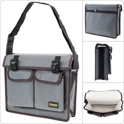 14 Inch Multifunctional 600D Oxford Cloth Waterproof Gray Single Shoulder Tool Bag with 8 Pockets and Adjustable Single Hanging Strap for Maintenance Tools