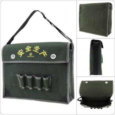15.5 Inch 600D Oxford Cloth Waterproof Flip Type Single Shoulder Tool Bag with 4 Holes 2 Pockets and Adjustable Single Hanging Strap for Maintenance Tools