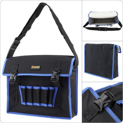 14 Inch 600D Oxford Cloth Waterproof Flip Type Single Shoulder Tool Bag with 5 Holes 2 Pockets and Adjustable Single Hanging Strap for Maintenance Tools