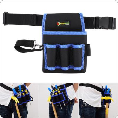 Multifunctional Durable Thickened Oxford Cloth Waterproof Tool Bag with 3 Holes 1 Pocket and 80cm Adjustable Hanging Strap for Maintenance Tools