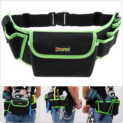 Multifunctional Durable Thickened Oxford Cloth Waterproof Waist Tool Bag with 4 Holes 1 Pocket and 45cm Adjustable Hanging Strap for Maintenance Tools