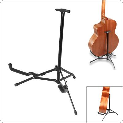 Black Metal Folding Guitar Ukulele Floor Stand with Stable Tripod Holder