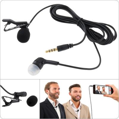 3.5MM Mini Headsets Microphone Clip-on Lapel Computer Phone Mic Condenser Microphone for Recording / Speaking / Lectures