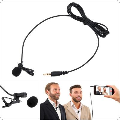 3.55MM Jack Audio Clip-on Lapel Mic Headset Computer Phone Condenser Mini Headsets Microphone for Recording / Conference / Teaching / Broadcast