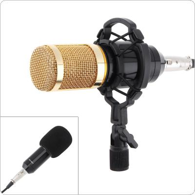 Professional BM-800 Capacitor Studio Microphone Double-layer Elastic Mesh Gold Plated and 3.5mm Wired for Stage / Conference / KTV / Vocal Recording / Karaoke